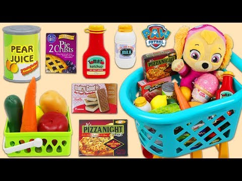 Paw Patrol Baby Skye Uses Grocery Cart Playset & Toy Cash Register To Shop!