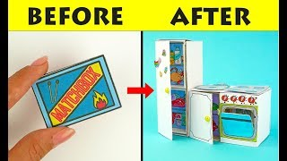 SIMPLE HANDMADE MINIATURE FURNITURE FOR DOLLS MATCHBOX CRAFTS FOR KIDS