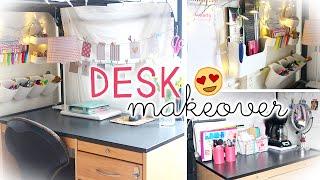 Desk/Work Area Makeover & Hacks (Dorm Wall Storage & Decor)