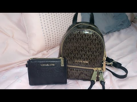 michael-kors-glossy-extra-small-backpack-|-leather-coin-purse-|-unboxing-monday