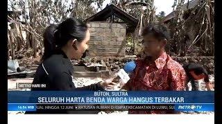 Warga Bersihkan Sisa Pembakaran Rumah di Buton