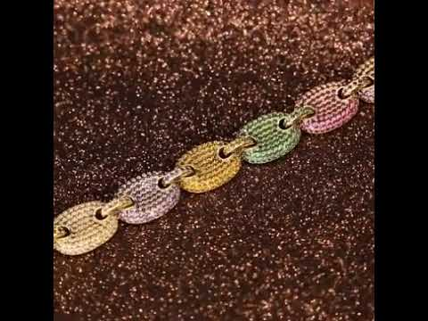 44291a478193f 14K Gold Multicolored Gucci-Link Bracelet