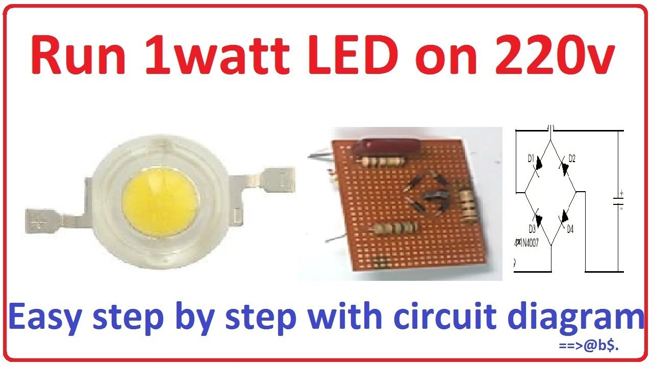 how to run 1 watt led bulb on 220v easy step by step with circuit diagram [ 1280 x 720 Pixel ]