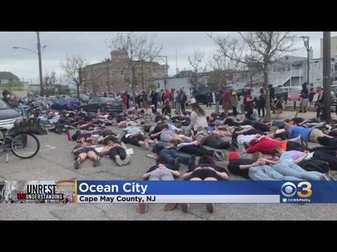 Peaceful Protests In Ocean City Tuesday At one point, protesters laid on the ground., From YouTubeVideos