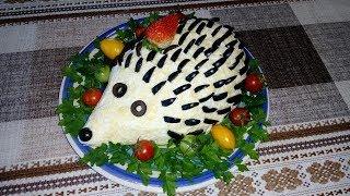 Праздничный Салат Очень Вкусный Необычный и Красивый с Копчёного Мяса и Сыра.