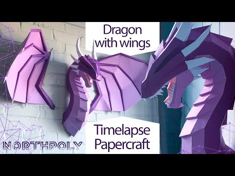 Timelapse. Low poly Awesome dragon with wings. Dracarys. Papercraft.
