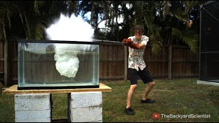 Pouring Molten salt into Water - Explosion! thumbnail
