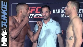The fight card from UFC on ESPN 2 faces off one final time before #UFCPhiladelphia takes place For more MMA news: http://www.mmajunkie.com Upcoming ...