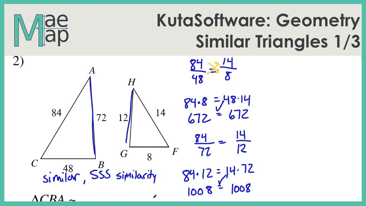Kutasoftware Geometry Similar Triangles Part 1 Youtube