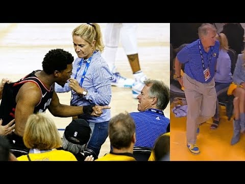 Kyle Lowry Shoved By Warriors' Fan Who's A Part Owner Mark Stevens In Game 3!