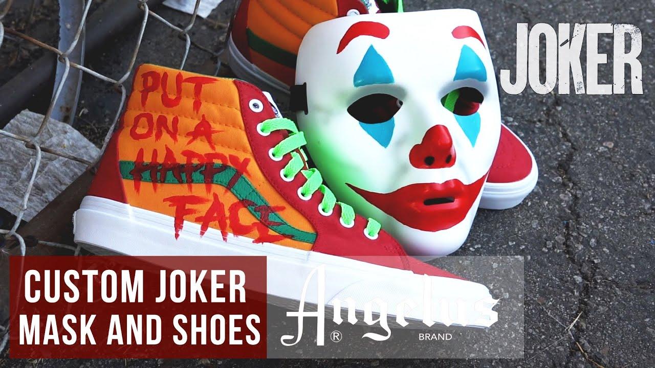 Diy Halloween Costume Custom Joker Mask Shoes And Pumpkin Angelus Paints Youtube