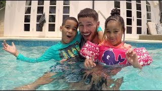 Shark Attack Game in the Pool Pretend Play! FamousTubeKIDS