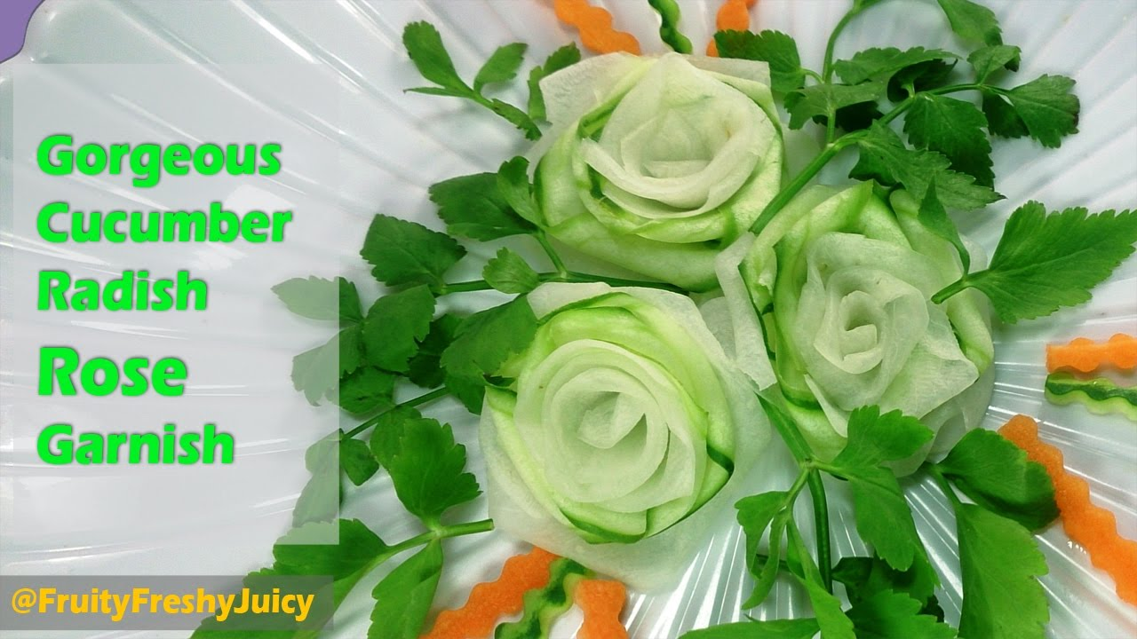 Gorgeous Cucumber Radish Rose Garnish - Vegetable Flower Art & Designs