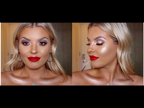 JASMINE HAND'S BIRTHDAY GLAM MAKEUP - MAC Ruby Woo Lipstick - Champagne Eyes, Winged Liner