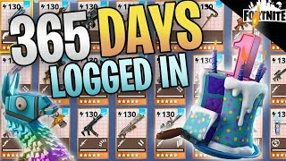 FORTNITE - 365 Days Logged In Save The World (My Entire Inventory After 1 Year) thumbnail