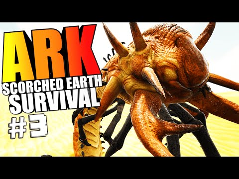 ARK Scorched Earth  HUNTING DEATH WORMS & ROCK GOLEMS, TEMPLE CAVE  ARK Survival Evolved Gameplay