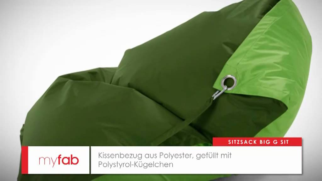 der sitzsack big g sit von myfab youtube. Black Bedroom Furniture Sets. Home Design Ideas
