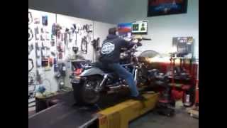 2003 Harley Davidson VROD VRSCA 3 pass Dyno Run with TAB Performance Baffled Slash Cut Exhaust Tips