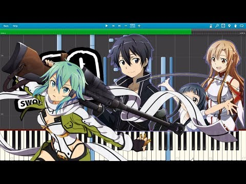 Sword Art Online 1 & 2  All openings Medley Piano Tutorial Synthesia  Theishter