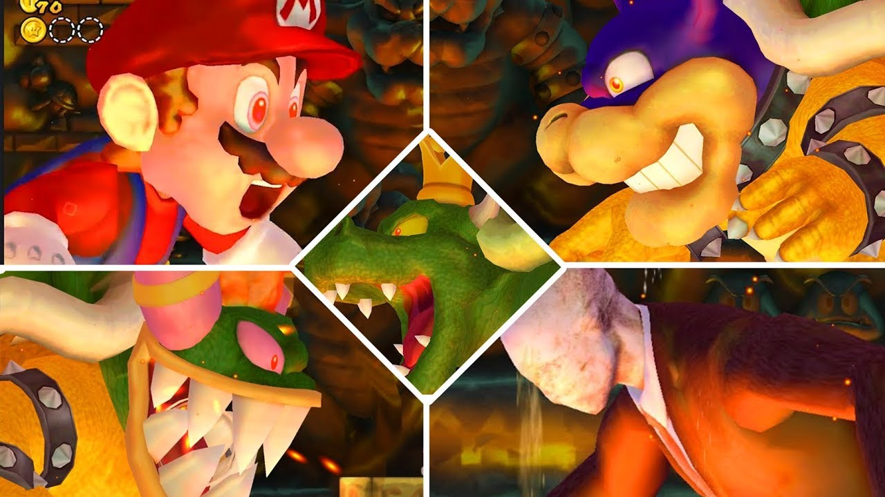 All Bowser Boss Fights In New Super Mario Bros Wii Youtube