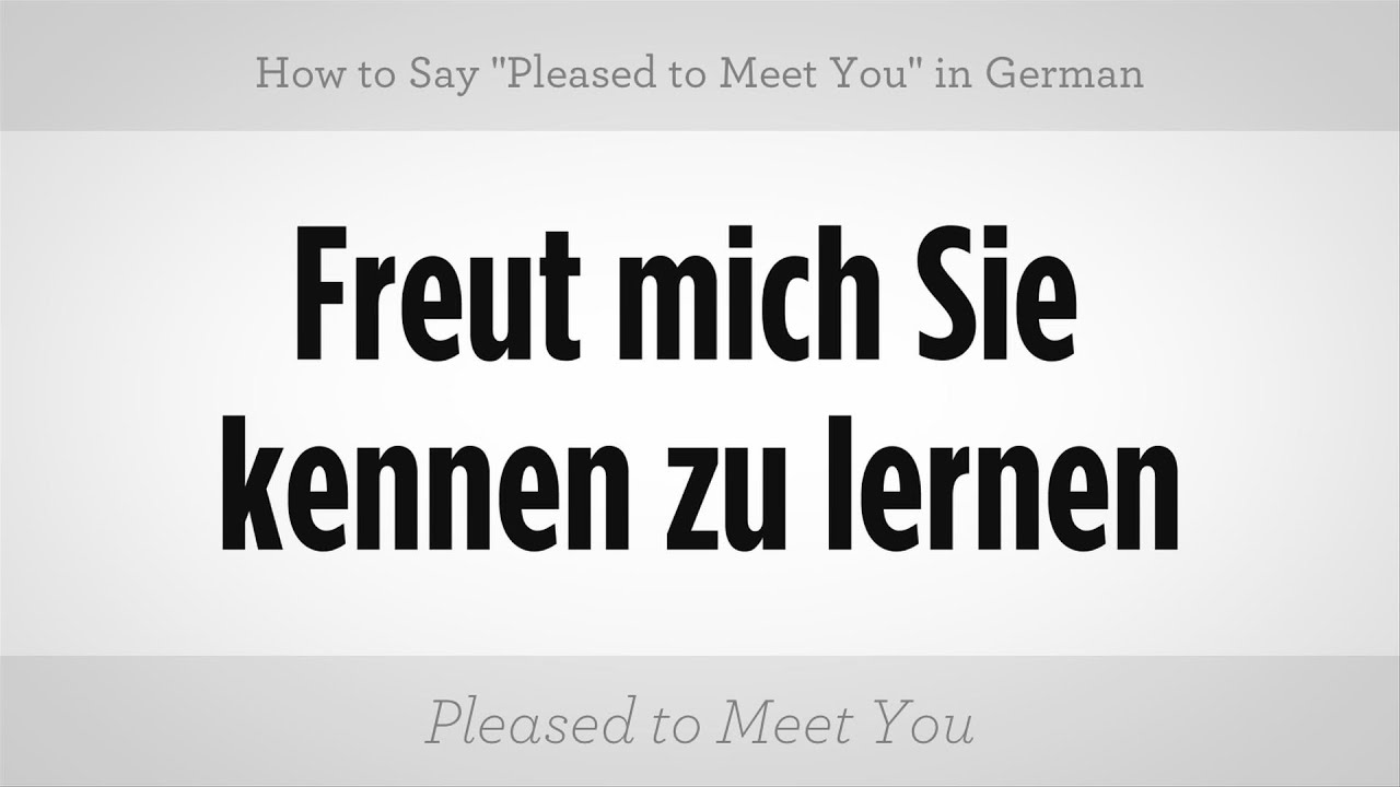 translate pleased to meet you in german