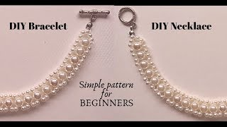 DIY Bracelet or Necklace with simple beading pattern.  Beginner Beading