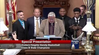 Senator MacGregor honors the Godwin Heights High School 2015 Class B Basketball State Champs