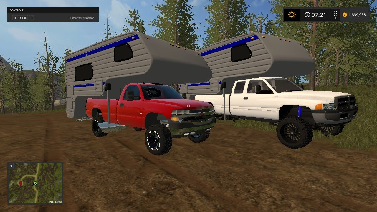 Farming Simulator 17 Camping With Truck Campers Youtube
