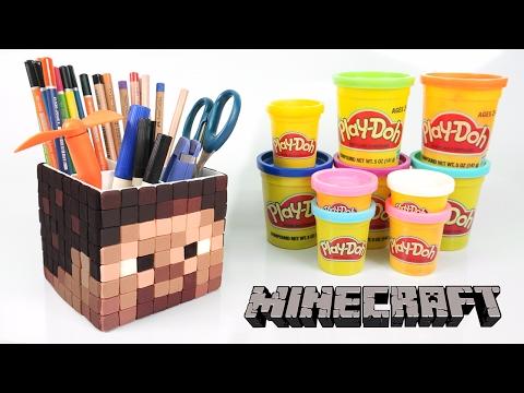 DIY Minecraft Steve Pen Holder ! Play doh Minecraft Pen Stand   MonsterKids