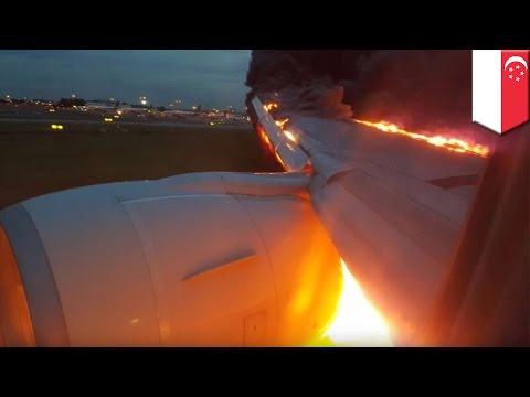 Motor de avión estalla en llamas mientras realizaba un aterrizaje de emergencia