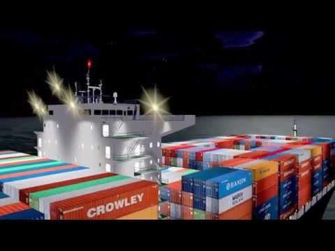 Emma Maersk & CMA CGM Marco Polo ships 3D night / models.