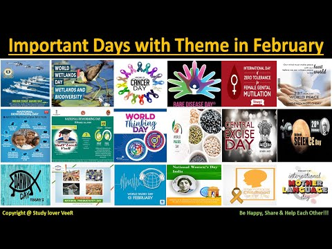 List Of Important Days with Theme in February  - National & International - Current Affairs 2020