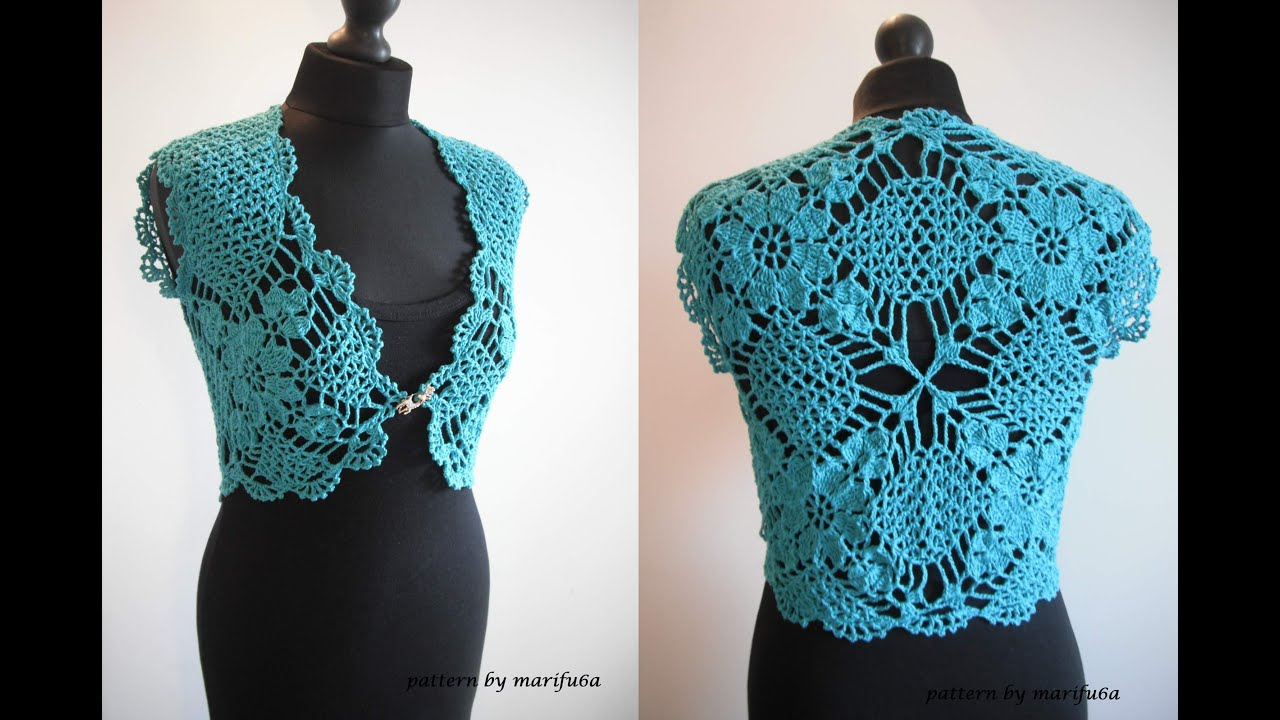 how to crochet mint bolero shrug chaleco free pattern tutorial by ...