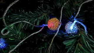 видео гирлянда светодиодная золотые шарики купить