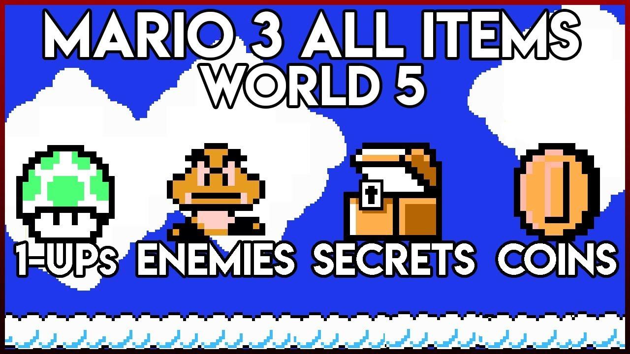 Super Mario Bros  3 World 5 All Coins/Enemies/1ups/Secrets