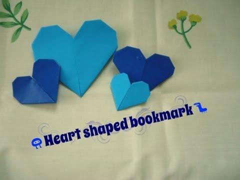 簡單小手作]心形書籤摺紙教學♪Heart shaped bookmark ...