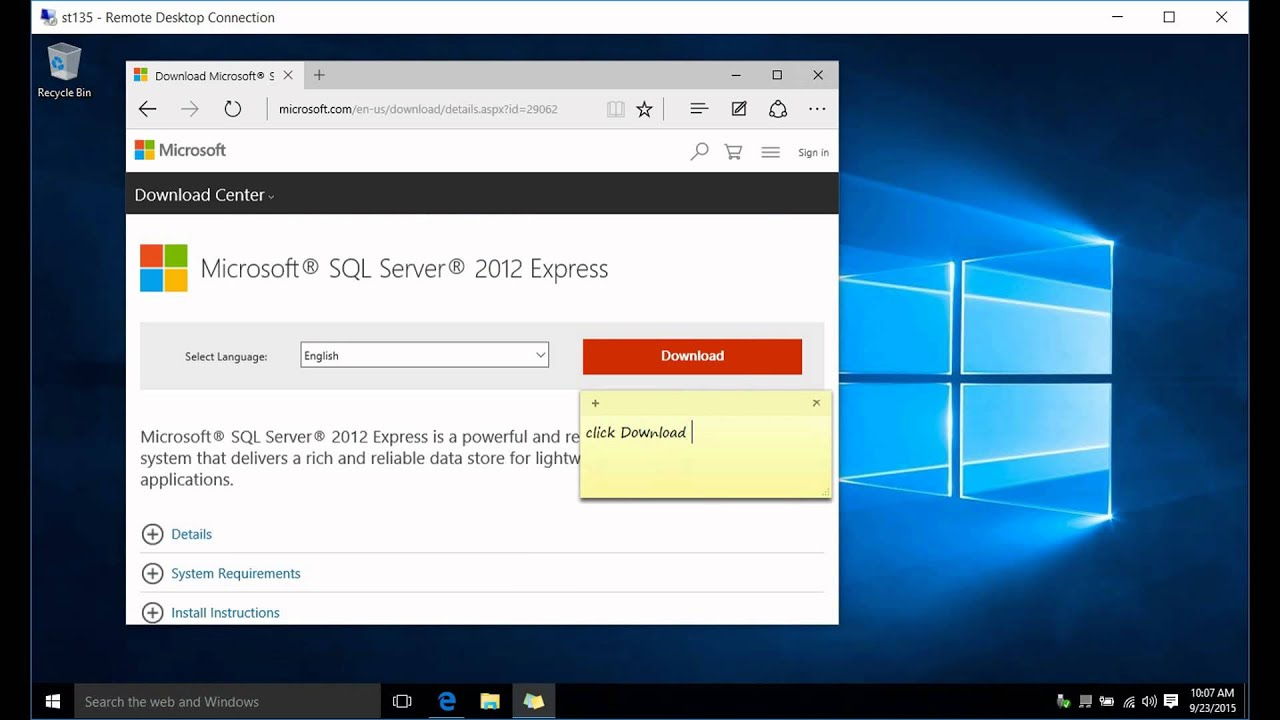 How to install IIS MS WEB server MS FTP server MS SQL Express server 2012  on Windows 10 pro x64