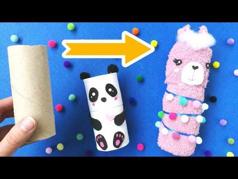 DIY Cute Pencil Case from Toilet Paper Roll | Llama and Panda Pencil Case Ideas
