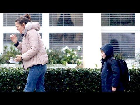 Jennifer Garner And Son Samuel Can't Escape The Torrential Rains