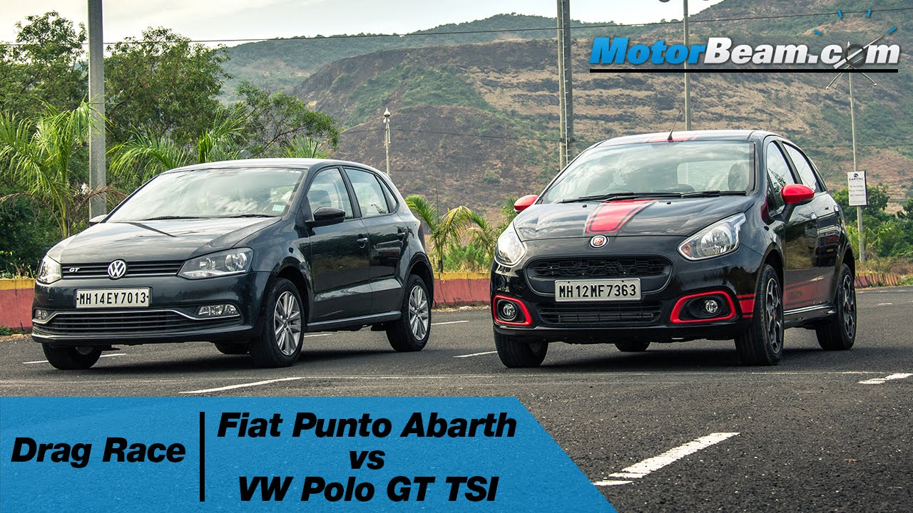 fiat punto abarth vs volkswagen polo gt tsi - drag race