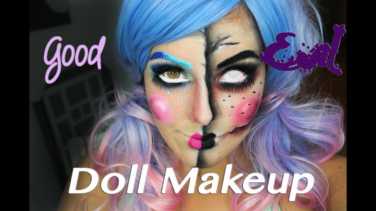 Good | Evil Doll Makeup Tutorial! - YouTube