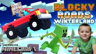 Dad Chase play BLOCKY ROADS Minecraft Style Off-Roading Cars Fun Vehicles WINTERLAND Tracks