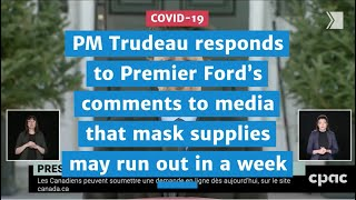 PM responds to Premier's comments to media that critical supplies may run out in a week | COVID-19