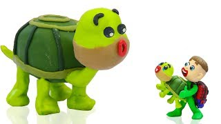 FAMILY TURTLE RESCUES SUPERHERO BABY 💖 Cartoons Play Doh Stop Motion