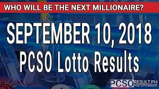 PCSO Lotto Result Today September 10, 2018 (6/55, 6/45, 4D, Swertres, STL & EZ2)