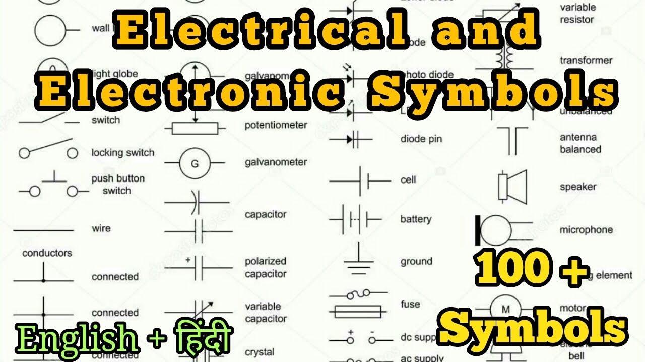 electronic schematics symbols circuits 100 electrical   electronic circuit symbols in hindi and english  electrical   electronic circuit symbols