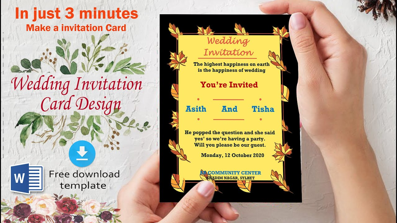 ms word tutorial how to make wedding invitation marriage card design in microsoft word 2020 by ar
