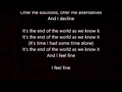 R.E.M. -  It's the End of the World as we Know It - Lyrics Scrolling