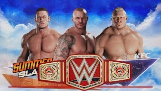 Brock Lesnar vs. Randy Orton vs John Cena--Universal Match-WWE-2K18- Gameplay