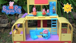 Peppa Pig Camping with Big Campervan and Peppa Pig Friends and Happy Family Camping and Pool Toys